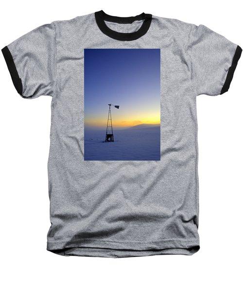 Windmill Winter Sunset Baseball T-Shirt