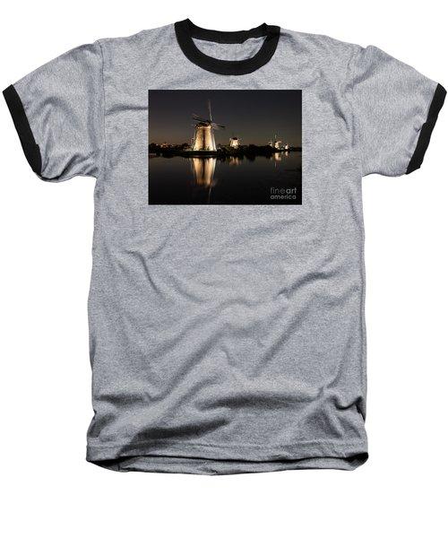 Windmills Illuminated At Night Baseball T-Shirt by IPics Photography