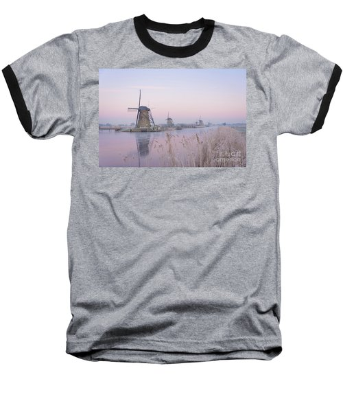 Windmills In The Netherlands In The Soft Sunrise Light In Winter Baseball T-Shirt