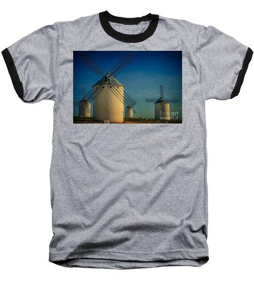 Baseball T-Shirt featuring the photograph Windmills Under Blue Sky by Heiko Koehrer-Wagner