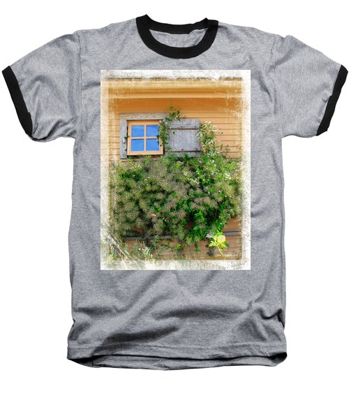 Baseball T-Shirt featuring the photograph Window Floral In Plymouth by Joan  Minchak