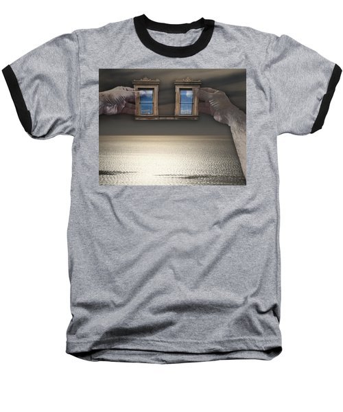 Window Hands Baseball T-Shirt by Christopher Woods