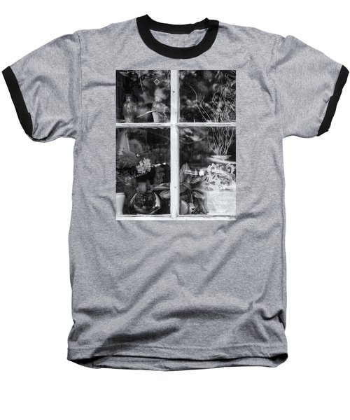 Window In Black And White Baseball T-Shirt by Tom Singleton