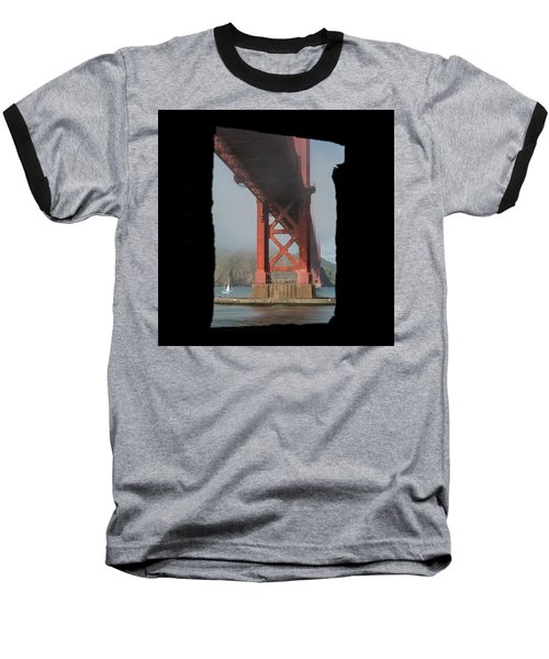 Baseball T-Shirt featuring the photograph window to the Golden Gate Bridge by Stephen Holst