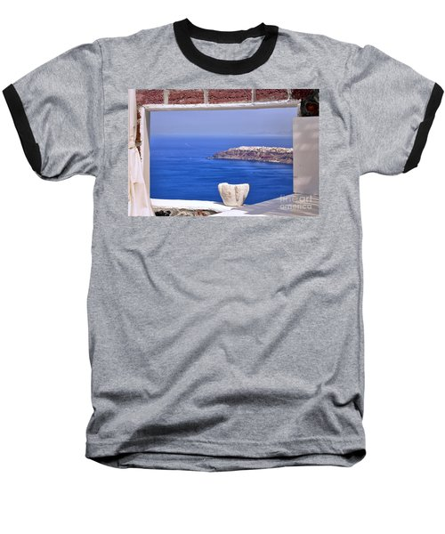 Window View To The Mediterranean Baseball T-Shirt by Madeline Ellis