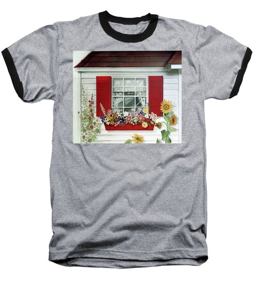 Windowbox With Cat Baseball T-Shirt by Bonnie Siracusa