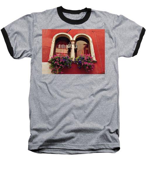 Windows In Venice Baseball T-Shirt by Tamara Sushko
