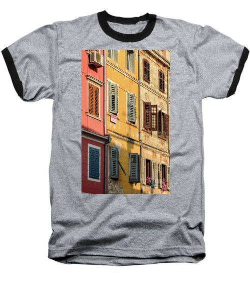 Windows Of Rovinj, Istria, Croatia Baseball T-Shirt