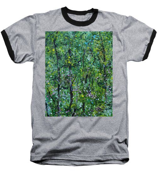Baseball T-Shirt featuring the painting Windsor Way Woods by Judith Rhue