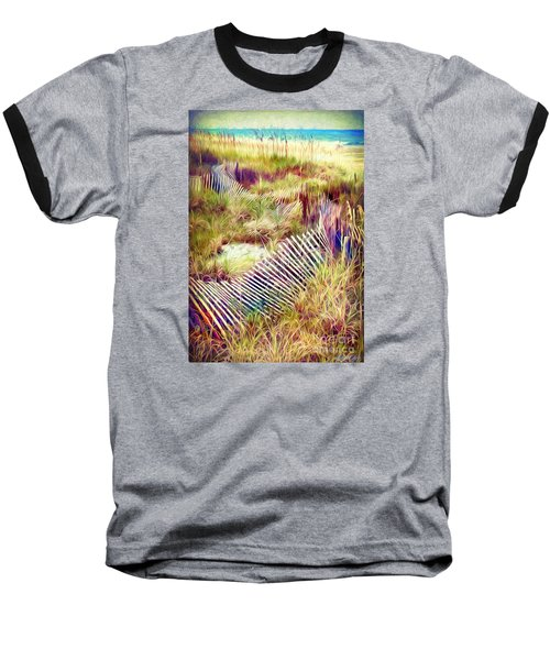 Baseball T-Shirt featuring the digital art Windswept Fence Strokes by Linda Olsen