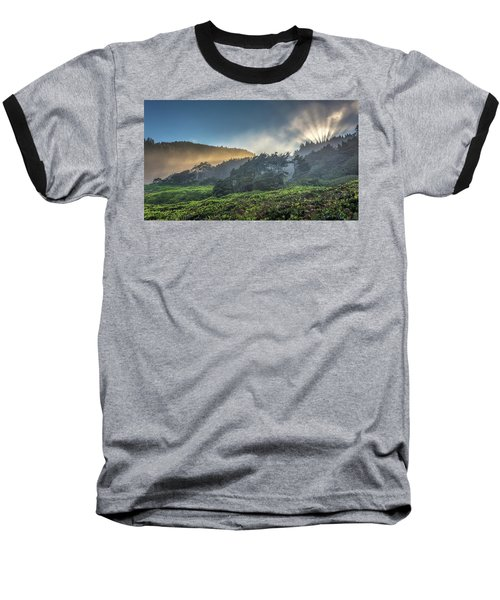 Baseball T-Shirt featuring the photograph Windswept Trees On The Oregon Coast by Pierre Leclerc Photography