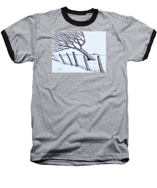 Baseball T-Shirt featuring the drawing Windy 24/7 by Jack G Brauer