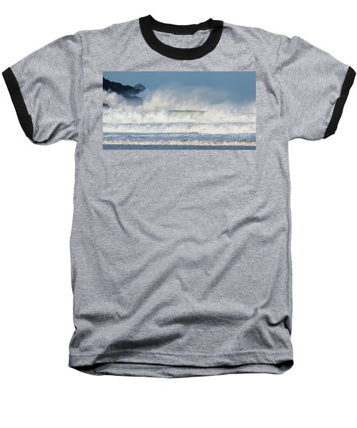 Baseball T-Shirt featuring the photograph Windy Seas In Cornwall by Nicholas Burningham