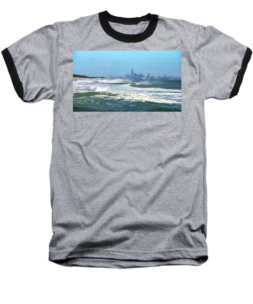 Windy View Of Nyc From Sandy Hook Nj Baseball T-Shirt by Gary Slawsky