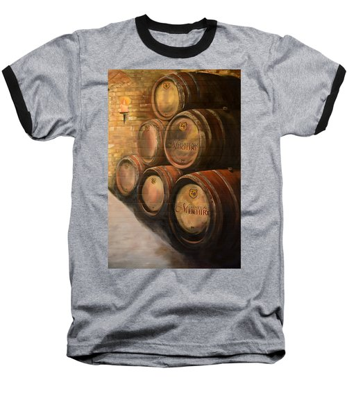 Baseball T-Shirt featuring the painting Wine In The Barrels - Chateau Meichtry by Jan Dappen