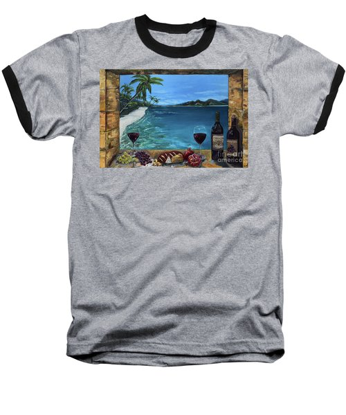 Baseball T-Shirt featuring the painting Wine Thirty - Oceanside by Jan Dappen