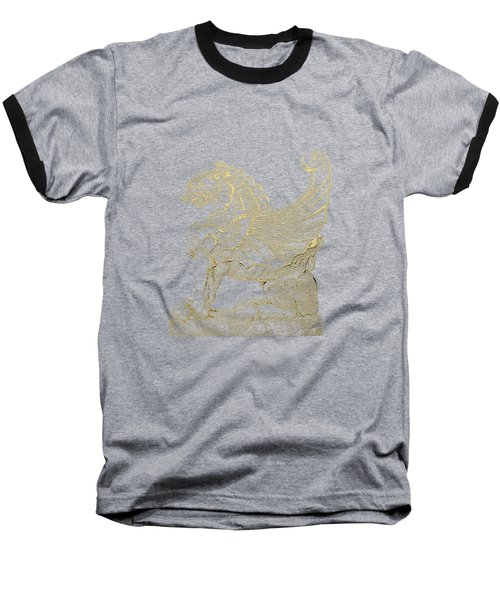 Baseball T-Shirt featuring the digital art Winged Lion Chimera From Casa San Isidora, Santiago, Chile, In Gold On Black by Serge Averbukh