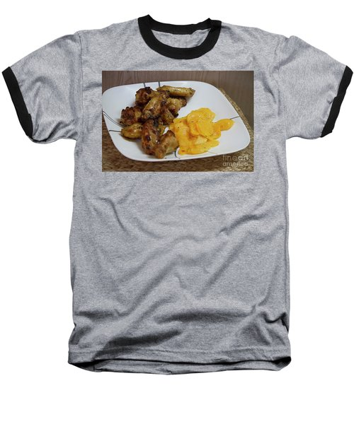 Winner Winner Chicken Dinner Baseball T-Shirt by Anne Rodkin