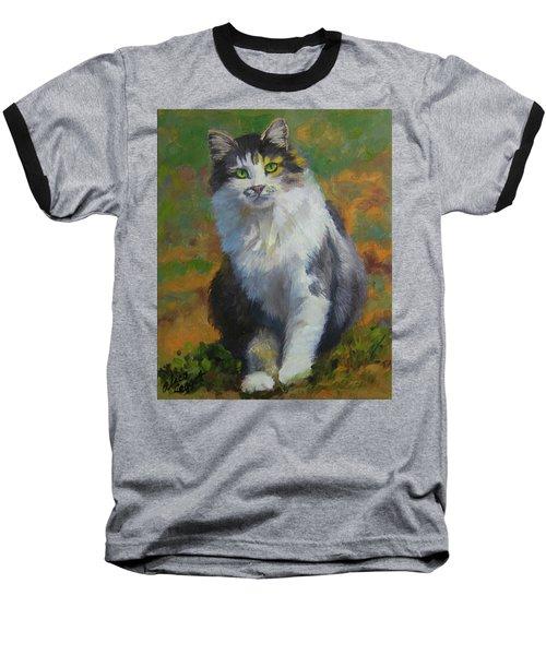 Winston Cat Portrait Baseball T-Shirt by Alice Leggett