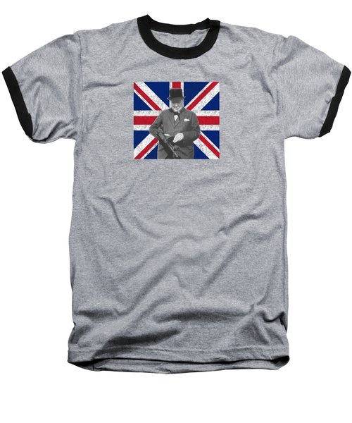 Winston Churchill And His Flag Baseball T-Shirt by War Is Hell Store
