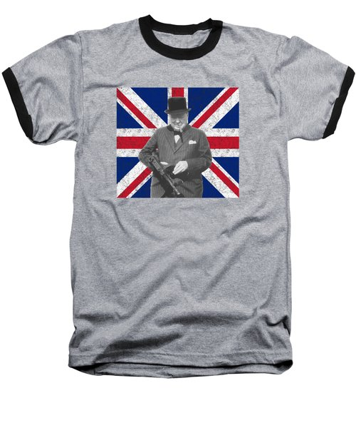 Winston Churchill And His Flag Baseball T-Shirt