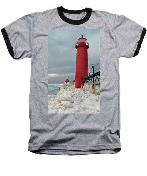 Winter At Grand Haven Lighthouse Baseball T-Shirt