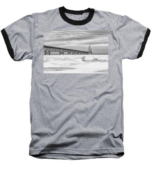 Baseball T-Shirt featuring the photograph Winter At Mackinac Bridge by John McGraw
