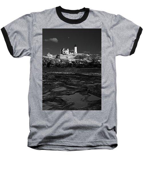 Winter At Nubble Lighthouse Bw Baseball T-Shirt