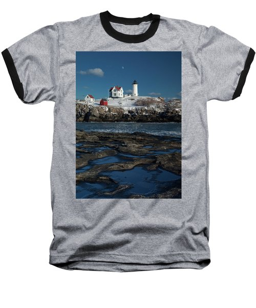 Winter At Nubble Lighthouse Baseball T-Shirt