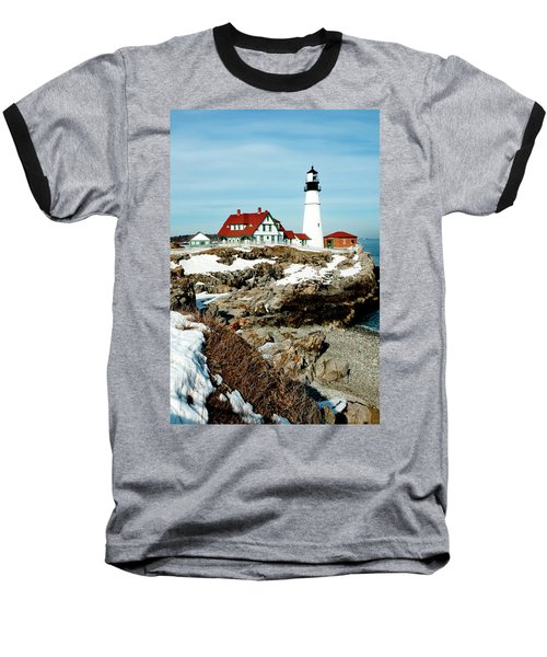 Winter At Portland Head Baseball T-Shirt