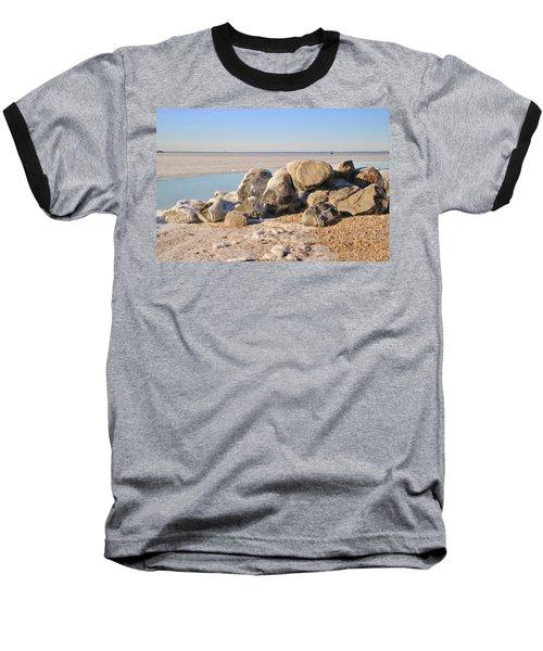 Winter At The Beach Baseball T-Shirt