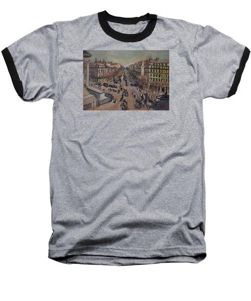 Winter At The Boulevard De La Madeleine, Paris Baseball T-Shirt by Nop Briex