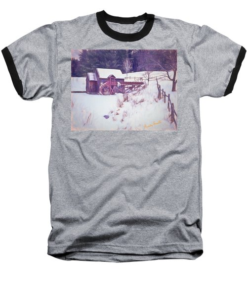 Winter At The Gristmill. Baseball T-Shirt
