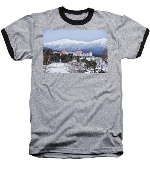 Winter At The Mt Washington Hotel Baseball T-Shirt by Tricia Marchlik