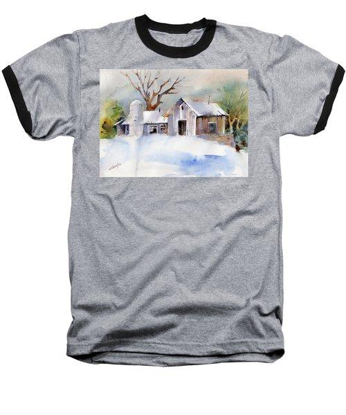 Winter Barn Baseball T-Shirt by P Anthony Visco
