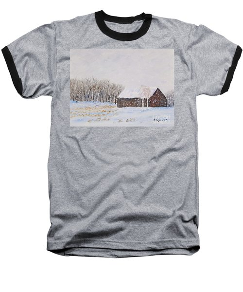 Winter Barn Baseball T-Shirt by Stanton Allaben