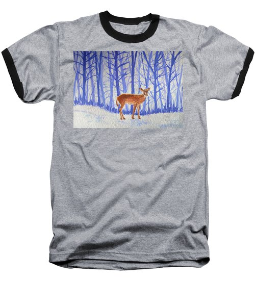 Baseball T-Shirt featuring the painting Winter Begins by Li Newton