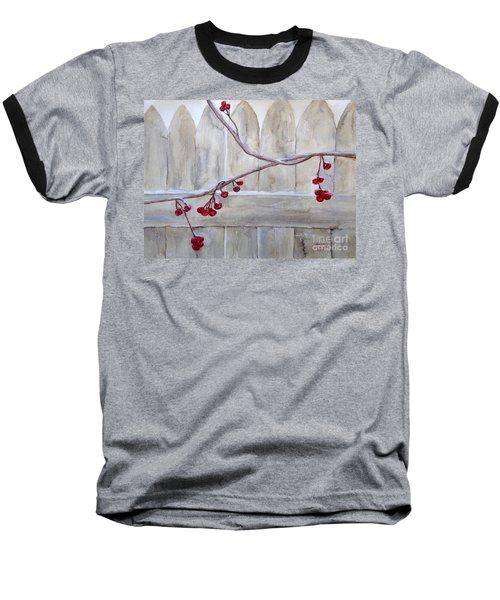 Winter Berries Watercolor Baseball T-Shirt by Susan Lafleur