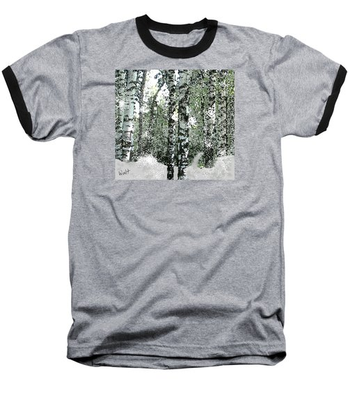 Baseball T-Shirt featuring the digital art Winter Birches by Walter Chamberlain