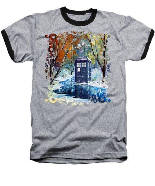 Winter Blue Phone Box Baseball T-Shirt