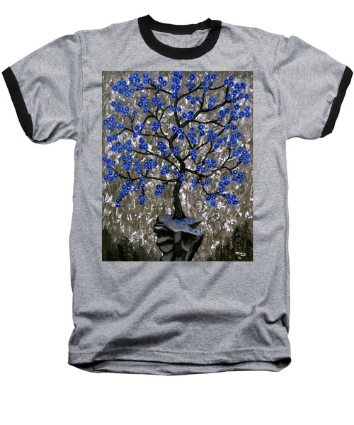 Baseball T-Shirt featuring the painting Winter Blues by Teresa Wing