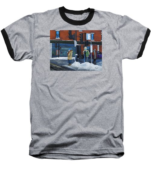 Winter Bus Stop Baseball T-Shirt by Reb Frost