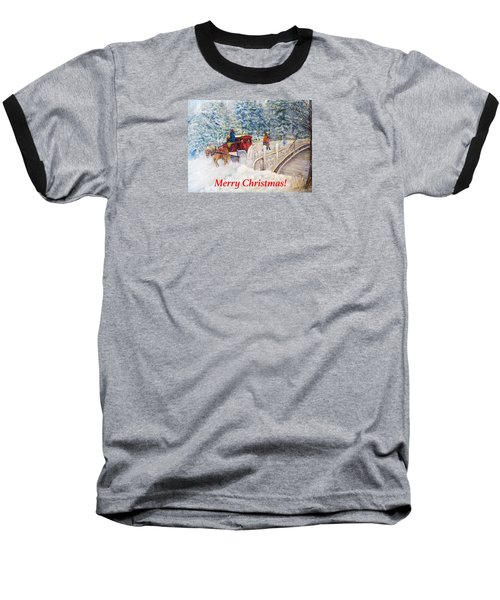 Winter Carriage In Central Park Christmas Card Baseball T-Shirt