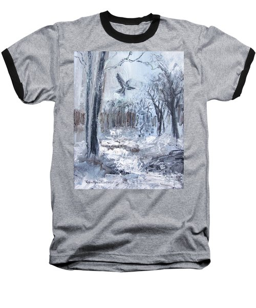 Baseball T-Shirt featuring the painting Winter Caws by Robin Maria Pedrero