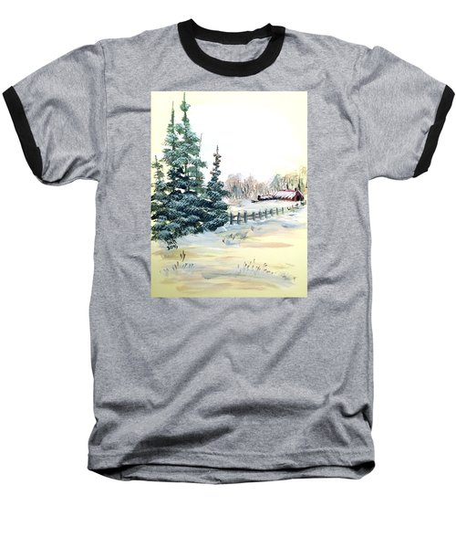 Winter Comes At The Farm  Baseball T-Shirt by Dorothy Maier