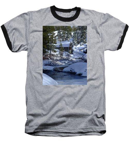 Winter Cottage Baseball T-Shirt by Donna Blackhall