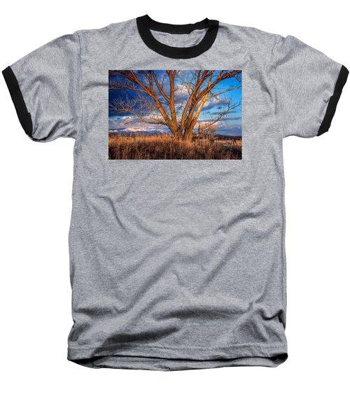 Winter Cottonwood Ranch Landscape Colorado Baseball T-Shirt by John Brink