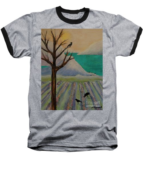 Winter Crows Baseball T-Shirt by Jeanette French