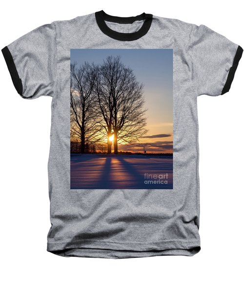 Winter, Crystal Spring Farm, Brunswick, Maine -78592 Baseball T-Shirt by John Bald