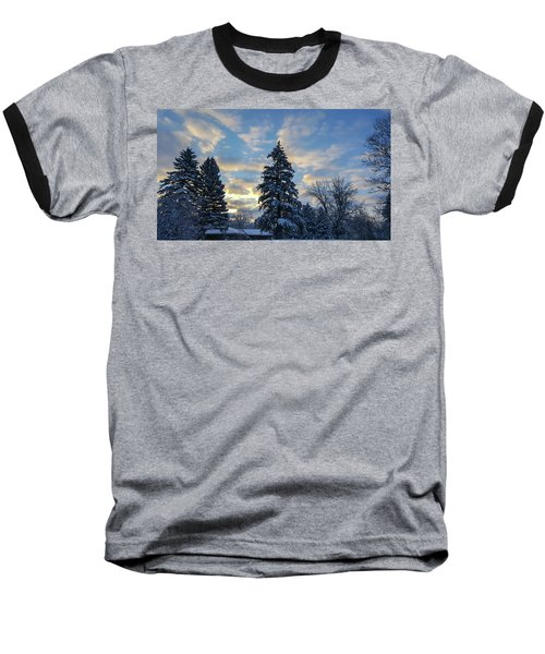 Winter Dawn Over Spruce Trees Baseball T-Shirt